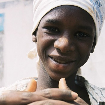 Photo of Boy with fingers crossed in Banjul, Gambia