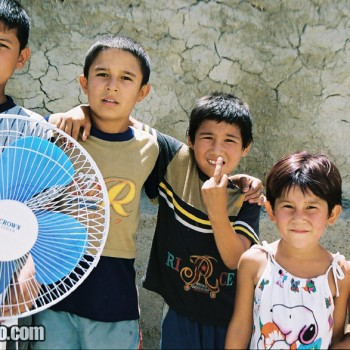 Children posing in Bukhara, Uzbekistan - Central Asia