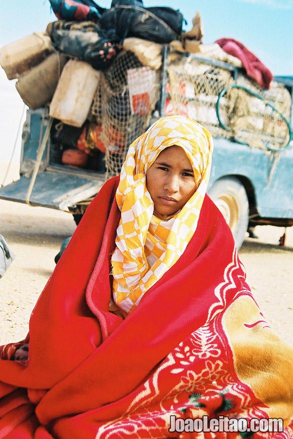 Woman in Sahara Desert Tracks Sebkhet Oum way to Bir Moghrein, Northern Mauritania