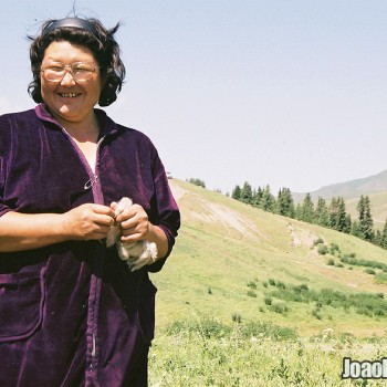 Photo of Kazakh nomad woman in Ile-Alatau National Park, Kazakhstan - Central Asia