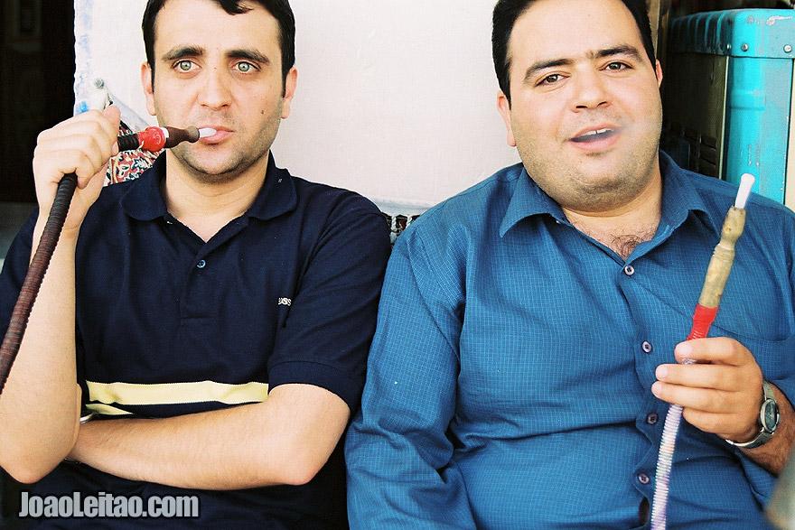 Men Smoking Hookah in Esfahan, Iran - Middle East