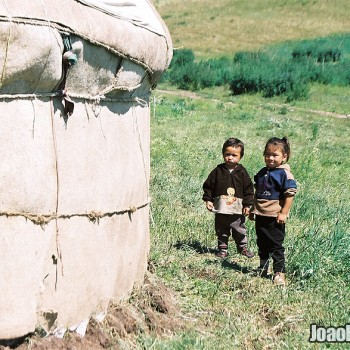 Photo of Kazakh nomad children in Ile-Alatau National Park, Kazakhstan – Central Asia