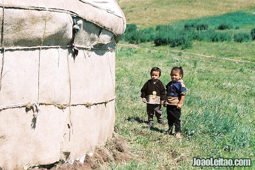 Photo of Kazakh nomad children in Ile-Alatau National Park, Kazakhstan – Central Asia
