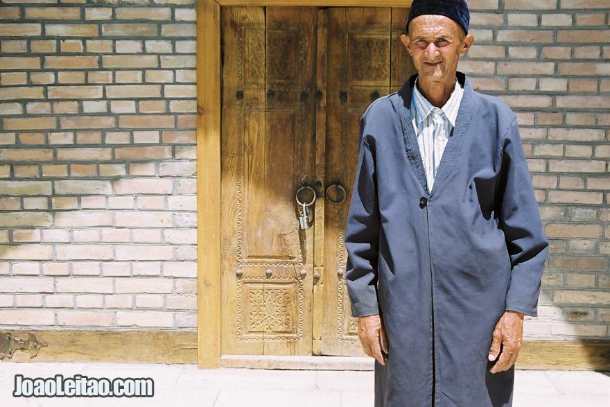 Old Man in Naqshband Mausoleum, Uzbekistan - Central Asia