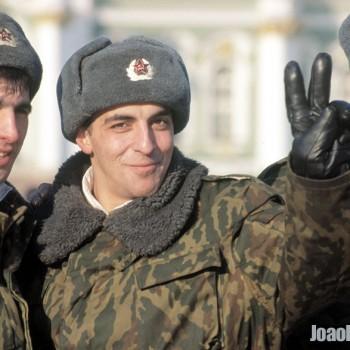 Russian Solders outside Hermitage Museum, Saint Petersburg, Russian Federation - Eastern Europe