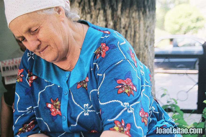 Photo of Russian woman in the market of Almaty, Kazakhstan – Central Asia.