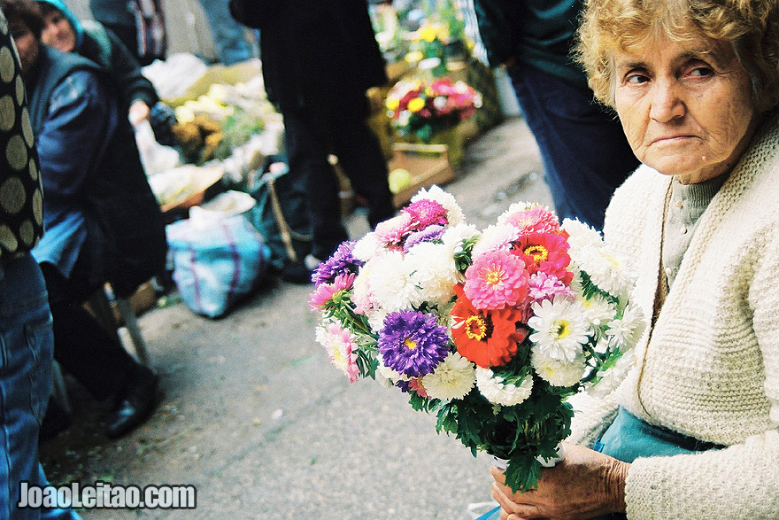 Photo of woman florist inside Skopje's central market, Macedonia - Eastern Europe