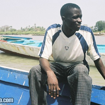 Photo of Man on boat to James Island, Gambia