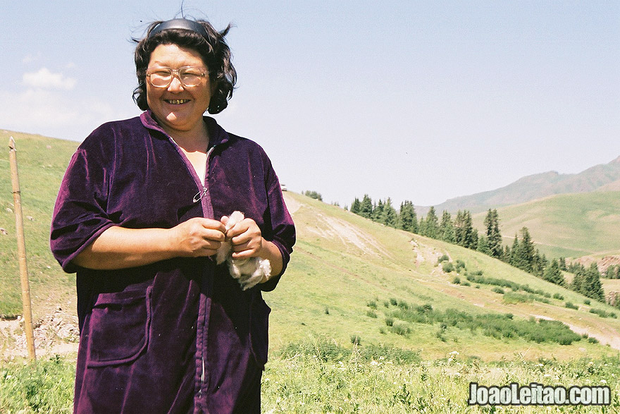 Photo of Kazakh nomad woman in Ile-Alatau National Park, Kazakhstan Central Asia