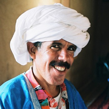 Man with white turban in Sahara Desert, Morocco - North Africa