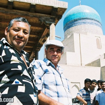 Men in Bukhara furniture market, Uzbekistan - Central Asia