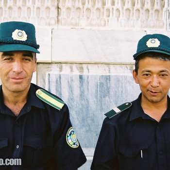 Registan Square security officers in Samarkand, Uzbekistan - Central Asia
