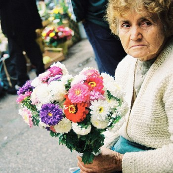 Photo of woman florist inside Skopje's central market, Macedonia - Eastern Europe